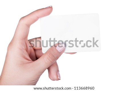Hand with white card, isolated on white background