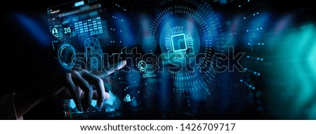 Hand working with Digital transformation change management and internet of things (IoT) Ui.