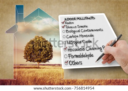 Hand write a check list of indoor air pollutants - concept image