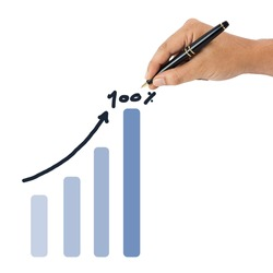 Hand write an one hundred percent success graph on white background