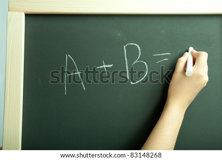 Hand write exercise on the black board