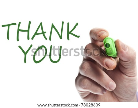 Hand write with green marker Thank you - stock photo