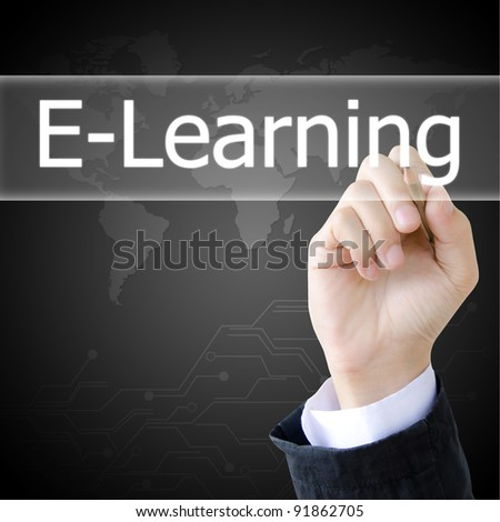 hand writing a e-learning word