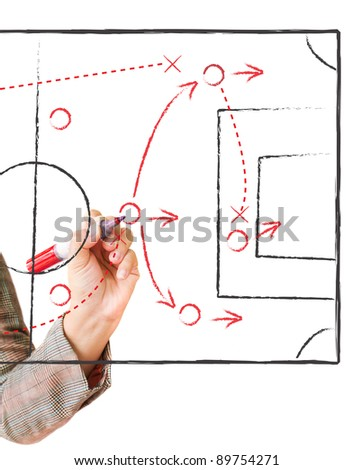 Hand writing a soccer game strategy plan on a whiteboard. creativity concept