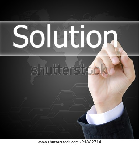 hand writing a solution word