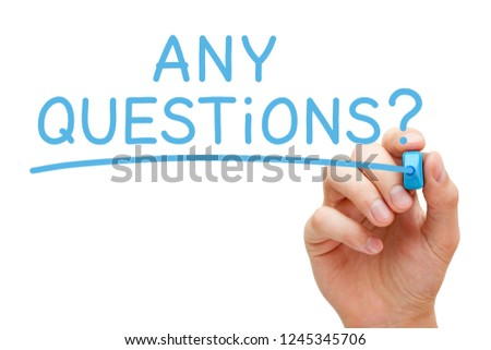 Hand writing Any Questions with blue marker on transparent wipe board isolated on white. Foto stock ©
