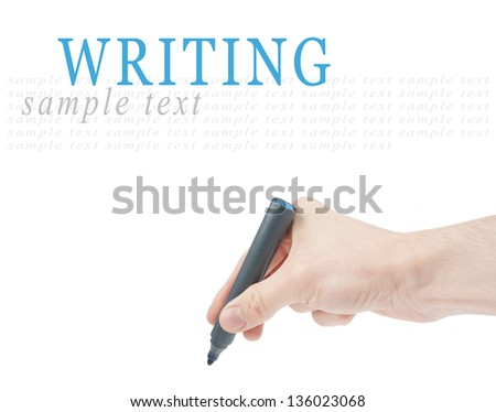 Hand writing by a felt tip pen isolated on white background