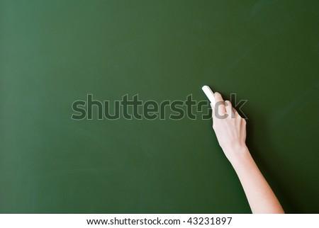 hand writing by chalk on a blackboard