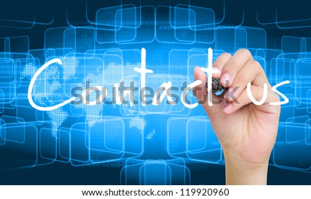 hand writing contact us - stock photo