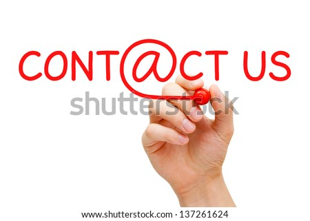 Hand writing Contact Us with red marker on transparent wipe board.