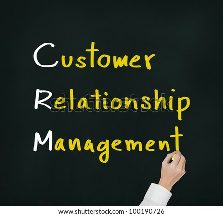 hand writing customer relationship management ( crm ) concept