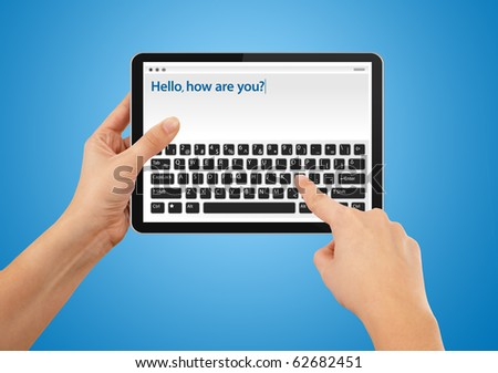 Hand writing email on tablet, blue background