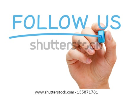 Hand writing Follow Us with blue marker on transparent wipe board.