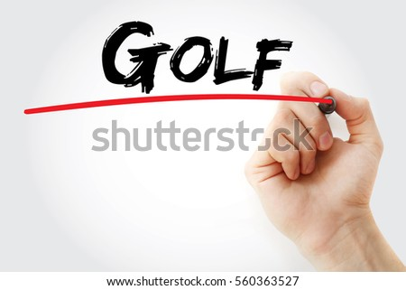 hand writing golf with marker ...