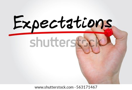Hand writing inscription Expectations with marker, concept Stock photo ©
