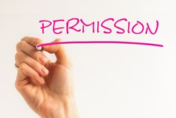 Hand writing inscription PERMISSION costs with pink marker, concept, stock image