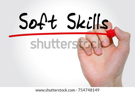Hand writing inscription Soft Skills with marker, concept #754748149
