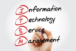 Hand writing ITSM - Information Technology Service Management with marker, acronym business concept