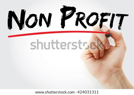 Hand writing Non Profit with marker, business concept background