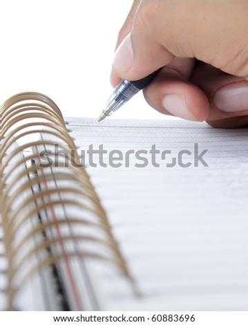 hand writing on a binder