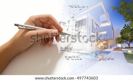 Hand writing on a luxurious villa 3D design