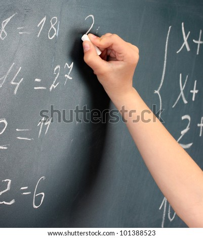 Hand writing on blackboard in class room