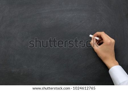 Hand writing on chalkboard / blackboard