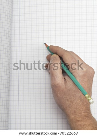 Hand writing on copy space. background of paper graph