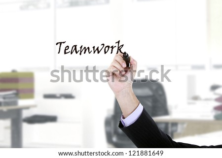 Hand writing on copy space on virtual whiteboard / screen.