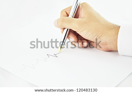 Hand writing pulse line in white paper