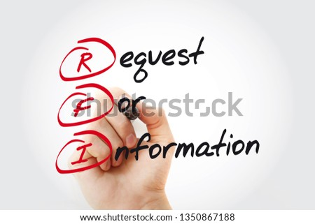 Hand writing RFI Request For Information with marker, acronym business concept #1350867188