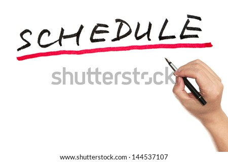 Hand writing Schedule word on white board