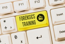Hand writing sign Forensics Training. Conceptual photo scientific methods and processes to solving crimes Typewriting End User License Agreement, Typing New Network Password