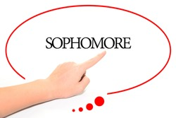Hand writing SOPHOMORE  with the abstract background. The word SOPHOMORE represent the meaning of word as concept in stock photo.