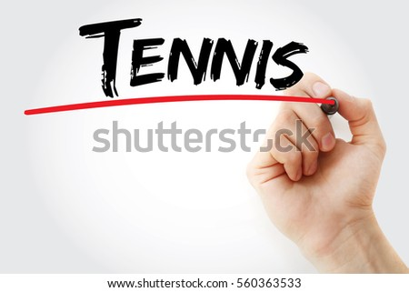 hand writing tennis with marker ...