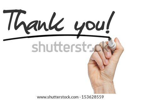 Hand writing Thank You with black marker on transparent wipe board ...