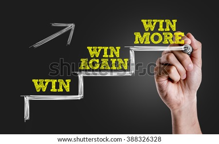Hand writing the text: Win - Win Again - Win More