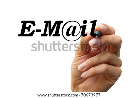 hand writing the word email isolated on white background