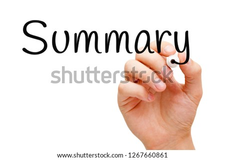 Hand writing the word Summary with black marker on transparent wipe board isolated on white. #1267660861