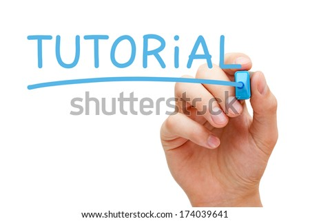 Hand writing Tutorial with blue marker on transparent wipe board.