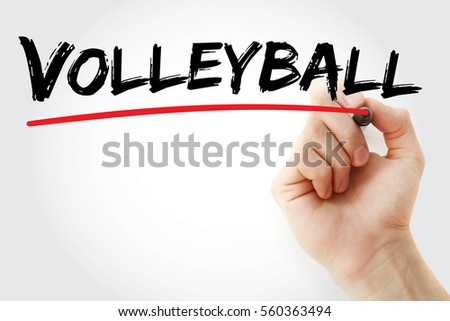 hand writing volleyball with...
