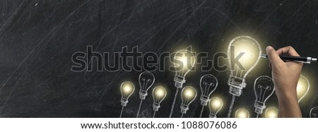 Hand writing with chalk on blackboard business and school or strategy concept design ,white chalk to write something on black board for time line cover or website background, with copy space for text. #1088076086