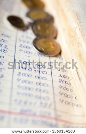 Hand-written calculations and coins. Bookkeeping (accounting). Economy. Financial themes. Money savings and budget . Bank deposits.