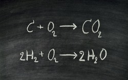 Hand written chemical equation on blackboard