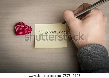 Hand written I love you and heart #757540126