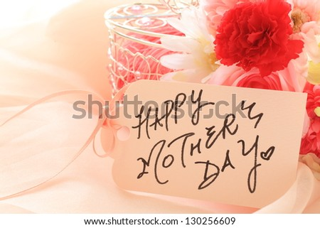 hand written Mother's day card and flower