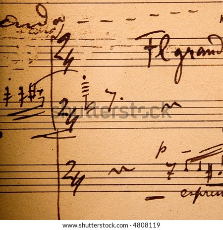 Hand-written musical notation. Old red paper with notes.