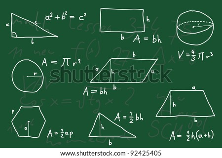 Hand written scribble illustration - geometry formulas. Formulas for polygon area, triangle properties and other. - stock photo