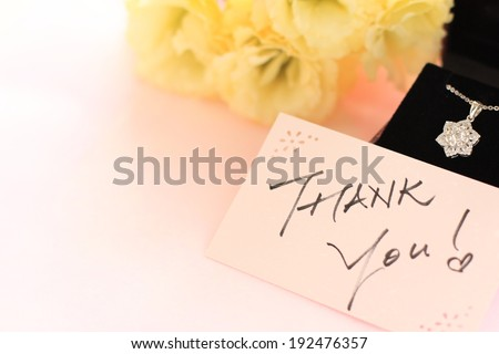 Hand written Thank you card and no brand diamond necklace
