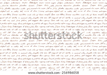 Hand written vintage ink letter - latin text Lorem ipsum. Repeating pattern (handwritten background)